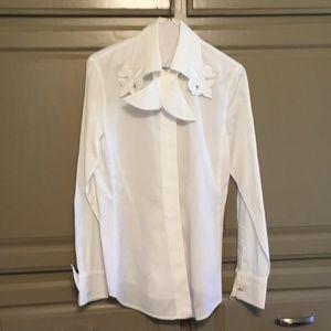 Escada white long sleeved blouse